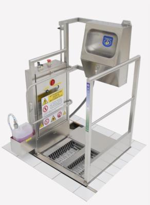 stazione igiene acciaio inox struttura incasso ergonomica con nebulizzatore mani