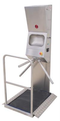 stazione igienizzante mani con controllo accessi in acciaio inox